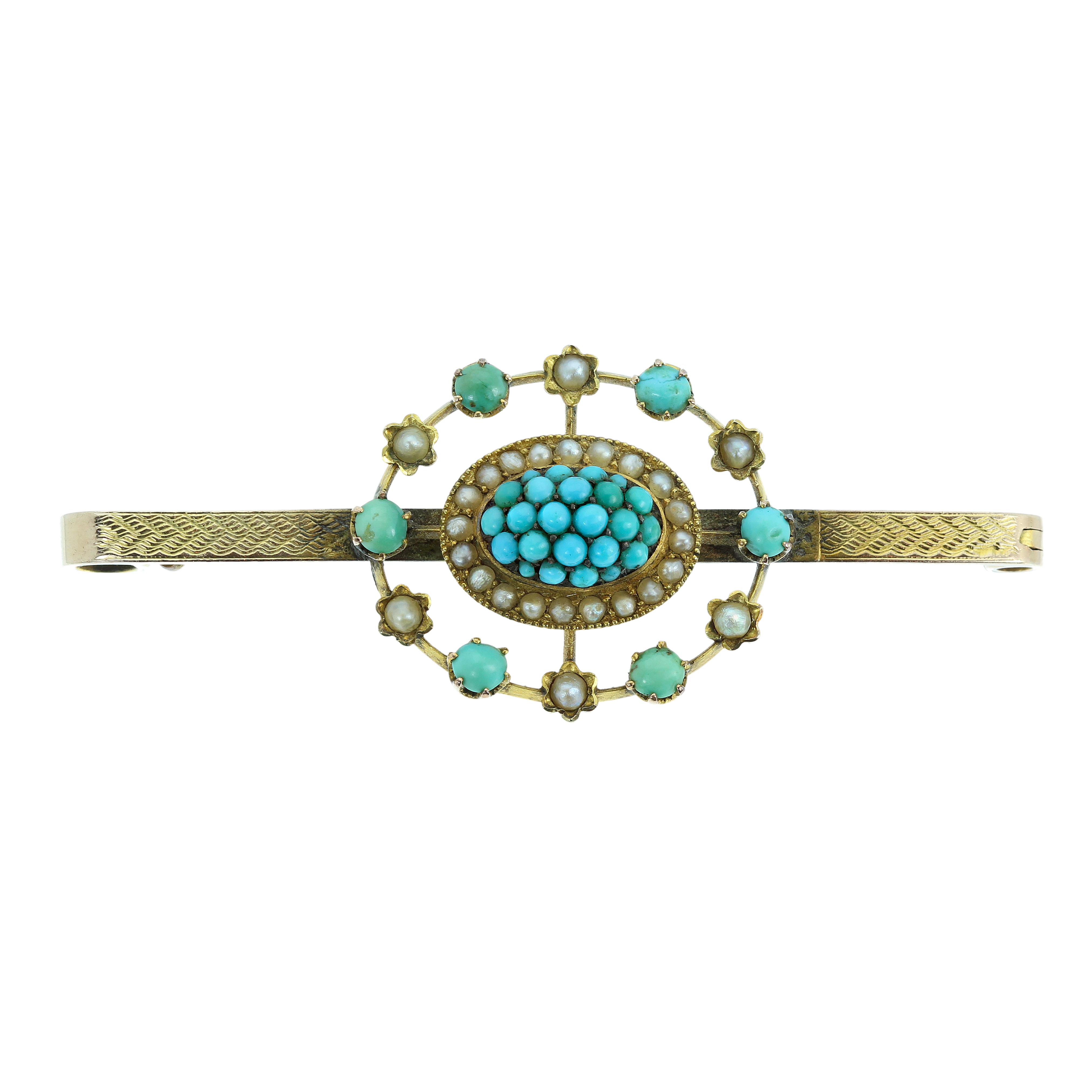 Los 6 - AN ANTIQUE TURQUOISE AND PEARL BEAD BROOCH in yellow gold, set with a central turquoise berry