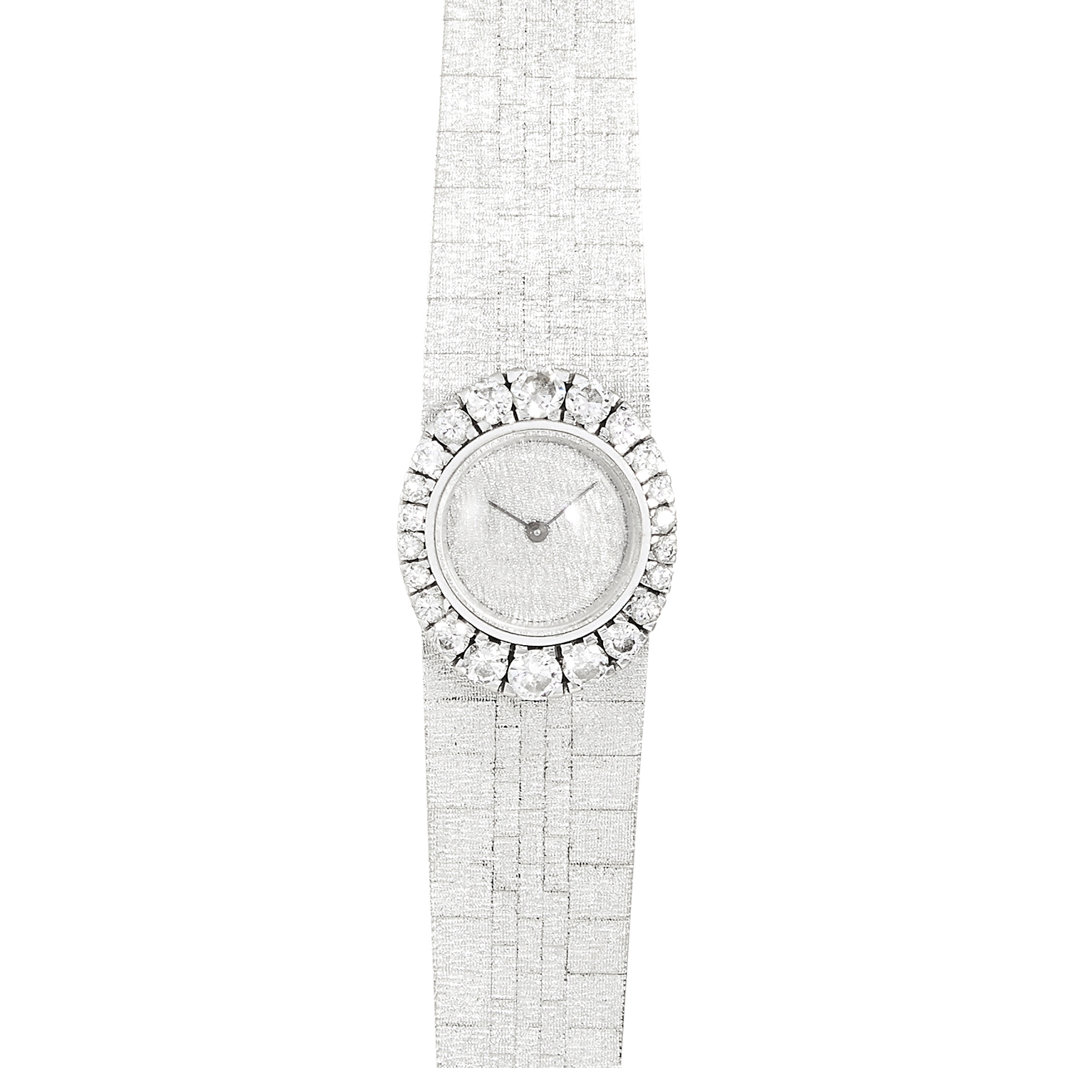 Los 108 - A DIAMOND LADIES WRISTWATCH in 18ct white gold, set with round cut diamonds around the dial