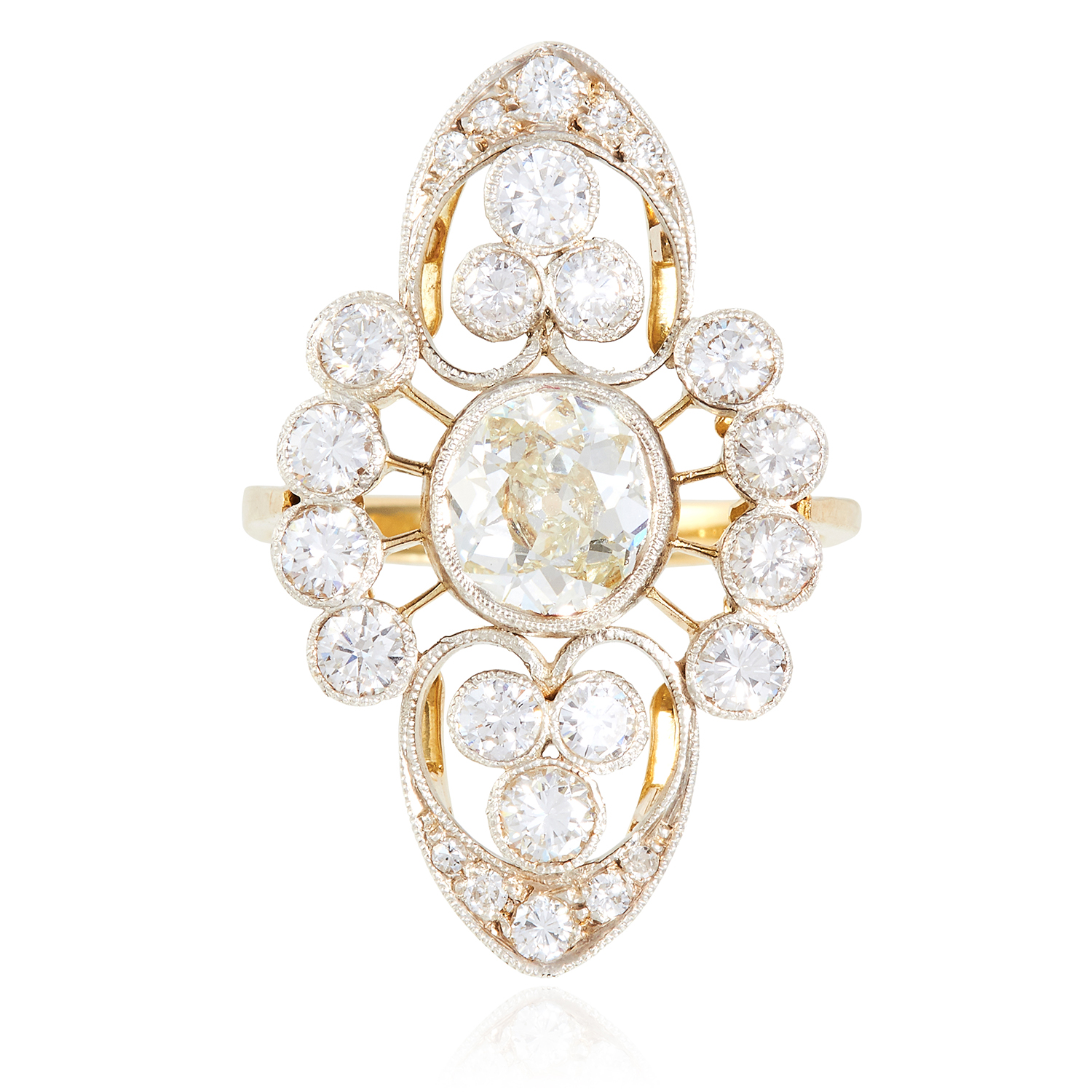 Los 41 - A 4.07 CARAT DIAMOND DRESS RING in yellow gold, the open scrolling frame is set with a central old