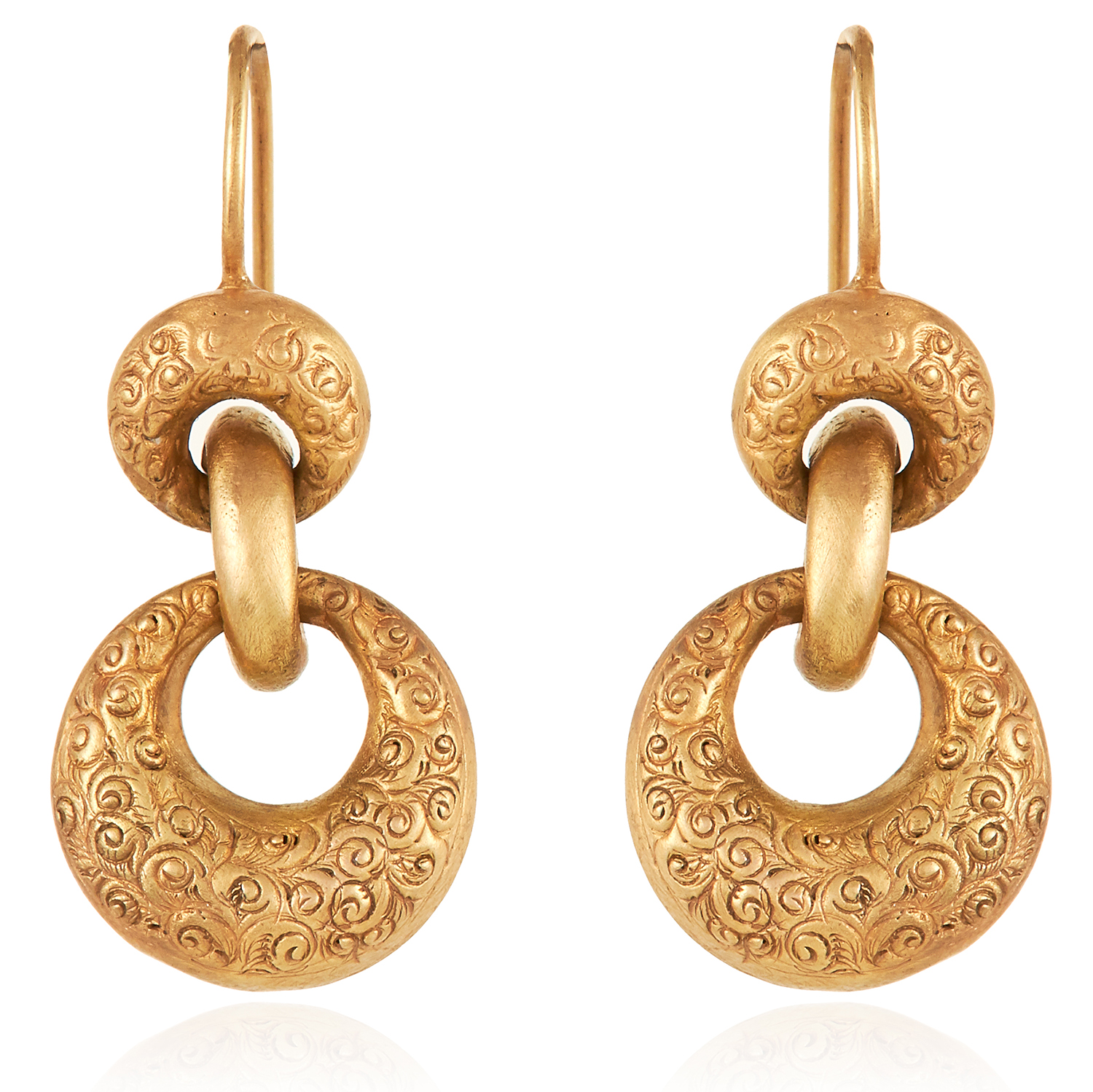 Los 54 - A PAIR OF ANTIQUE ARTICULATED DROP EARRINGS, 19TH CENTURY in high carat yellow gold, designed as a