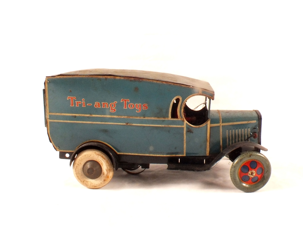 Lot 60 - A c1930's Triang clockwork 'Triang Toys' tin plate delivery van (replacement front wheels)