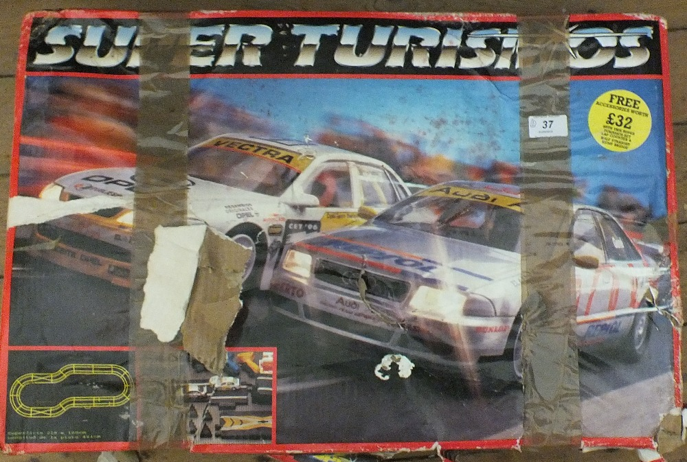 Lot 37 - Scalextric Super Turismo set plus a remote control tank