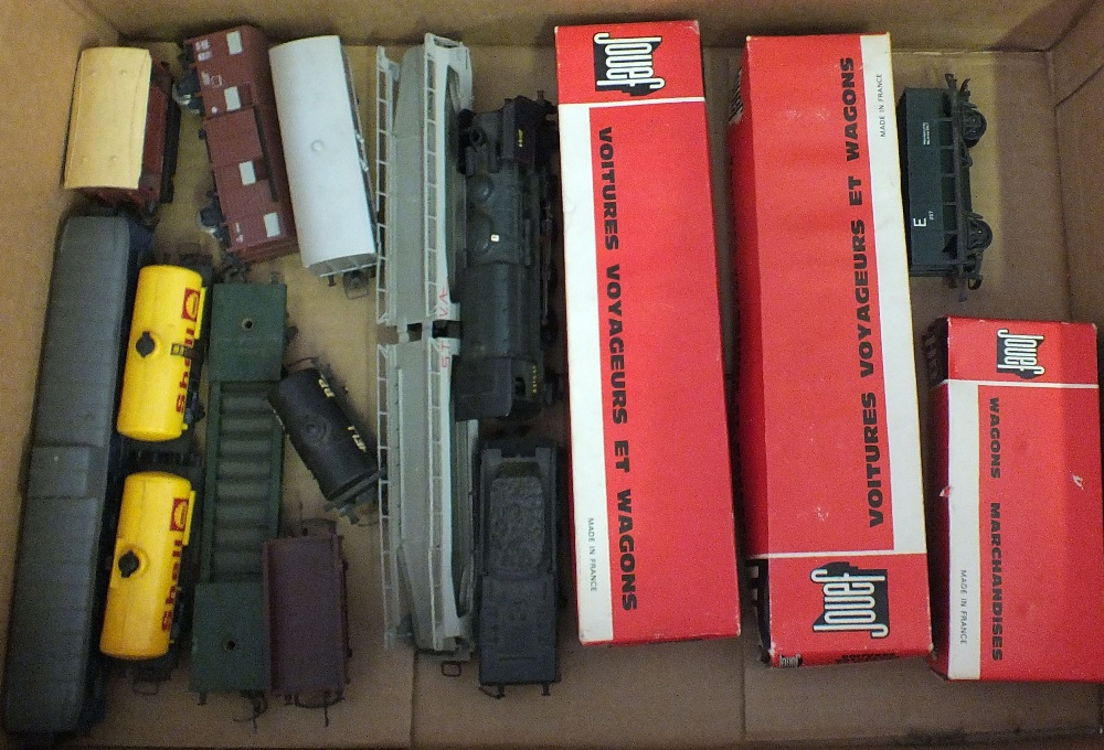 Lot 35 - Four boxes of model railway including track, platforms,