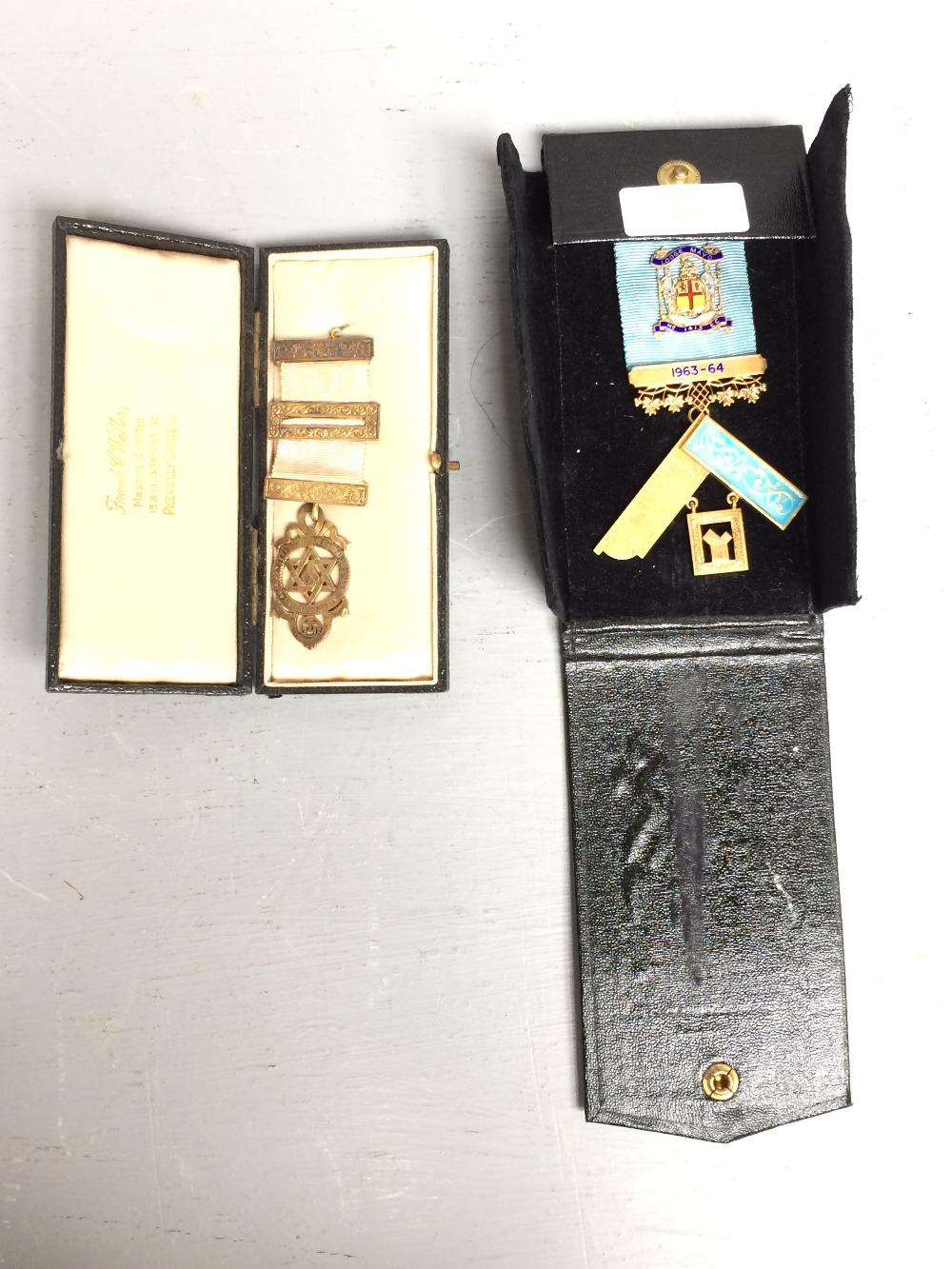 2 Masonic badges both silver gilt