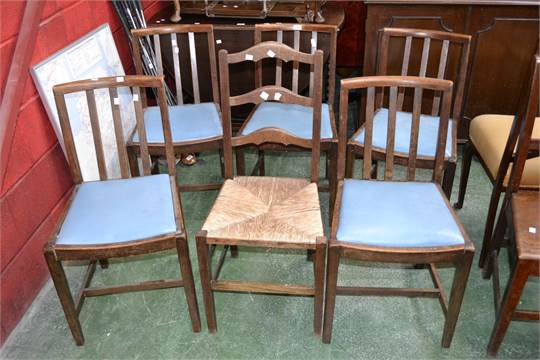 Auction date & Five 1940u0027s oak dining chairs; an oak ladderback country chair with ...