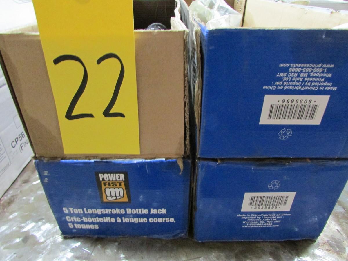 Three Powerfist long stroke 5 ton bottle jacks (2 are unused)