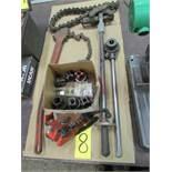 Ridgid pipe threading dies w/ handle, soil pipe cutter, chain wrench & chain vise