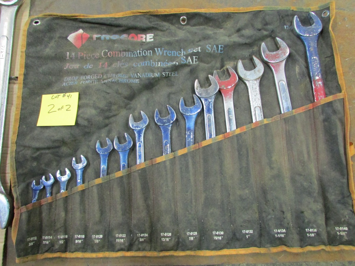 Qty. of box end wrenches from 3/8'' to 1 3/4'' w/ two pipe wrenches and adjustable wrench - Image 2 of 2