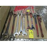 Qty. of box end wrenches (3/8'' to 2 1/4''), with large adjustable wrench and pipe wrench