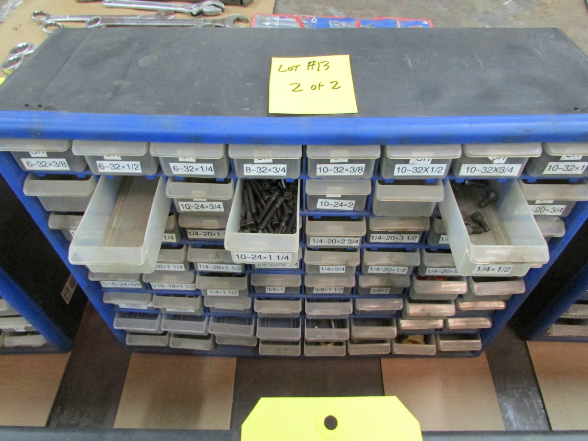 Lot 13 - Two small plastic nut and bolt bins c/w contents