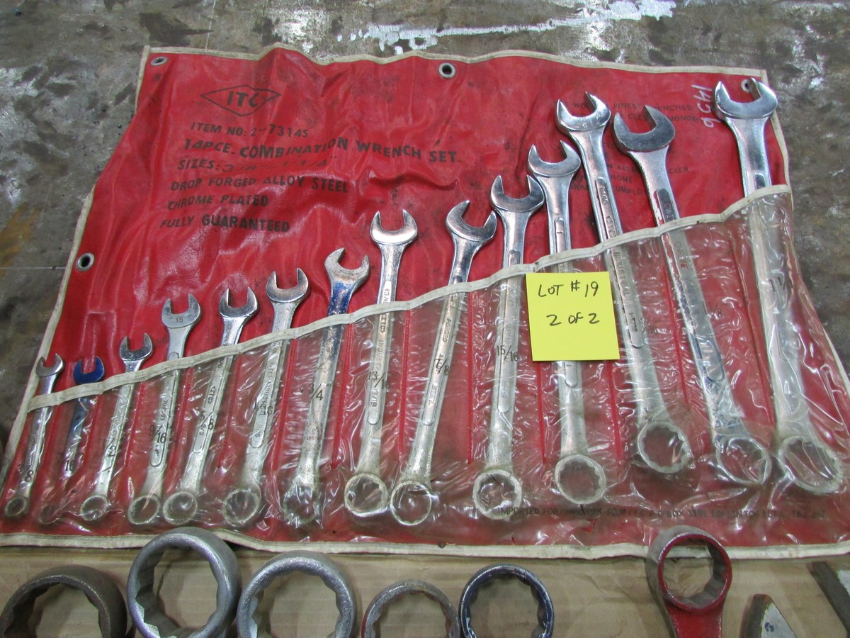 Qty. of box end wrenches (3/8'' to 2 1/4''), with large adjustable wrench and pipe wrench - Image 2 of 2