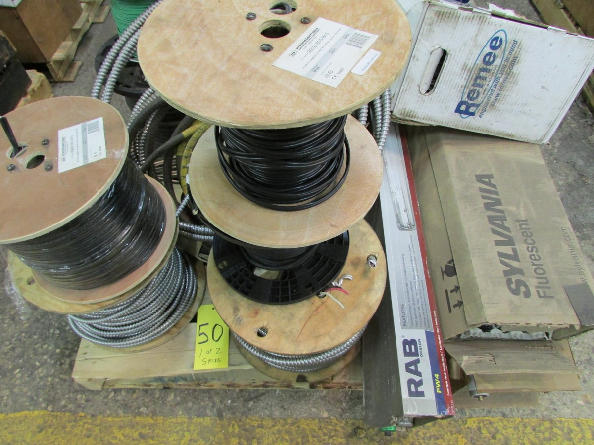 Two skids of BX cable, co-ax cable, wire, light bulbs and misc. elec. supplies