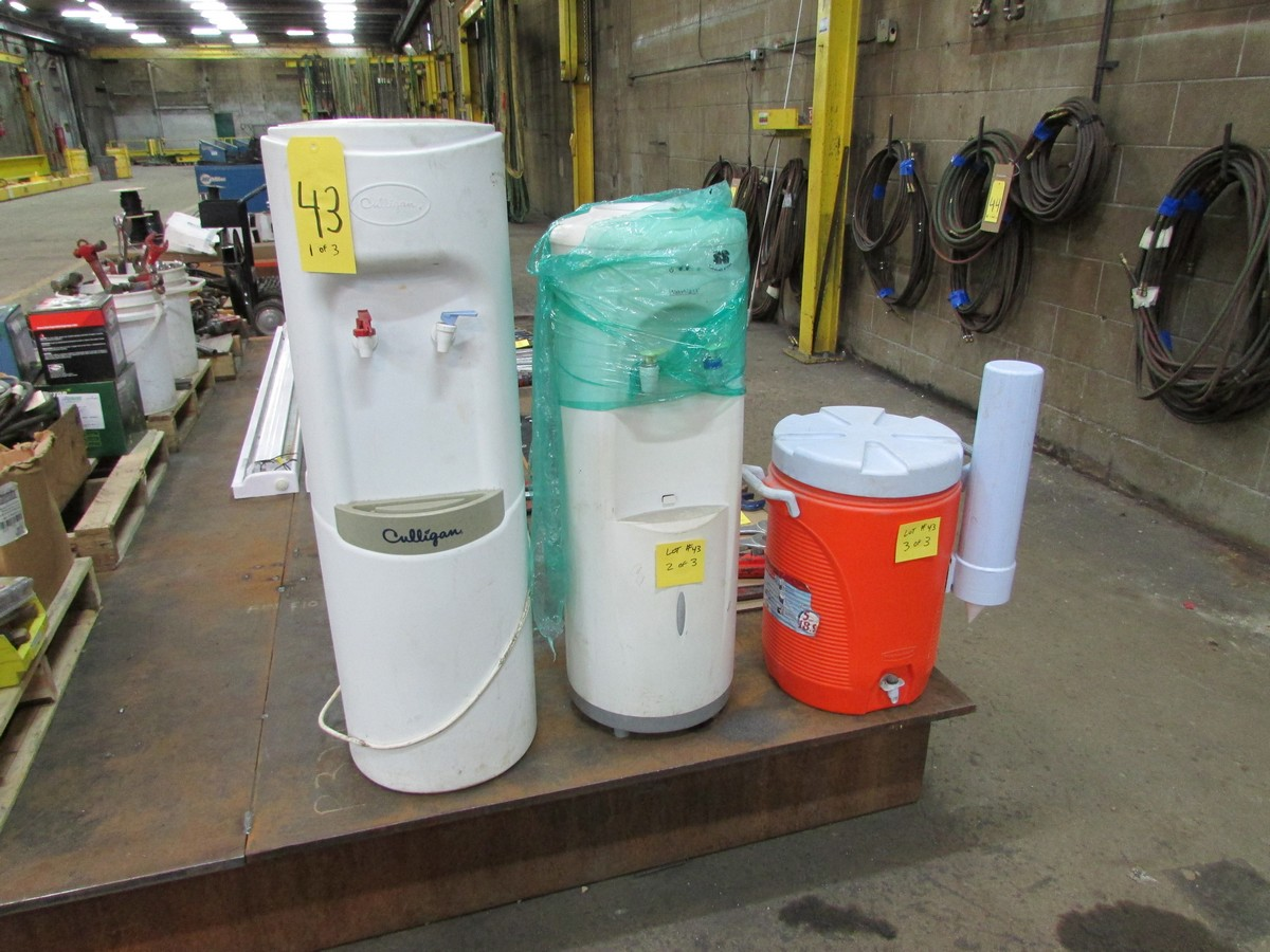 Lot 43 - Culligan water cooler & Watermax water cooler (both 110V), c/w portable Rubbermaid water dispenser