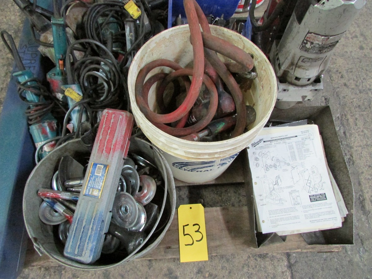 Lot 53 - One skid of power tools needing repair including 1 large torque wrench, 1 mag drill, numerous