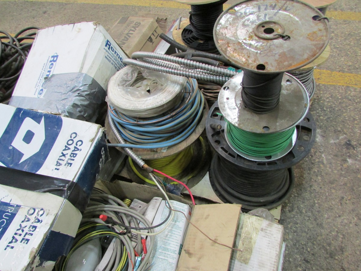 Two skids of BX cable, co-ax cable, wire, light bulbs and misc. elec. supplies - Image 5 of 5
