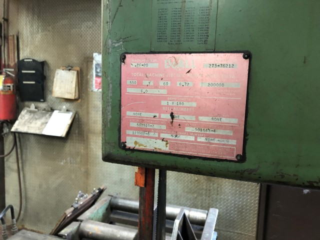 Doall Model TF20 vertical band saw s/n 273-76212 w/ hyd. clamping, 20'' depth, 22'' under housing, - Image 5 of 5