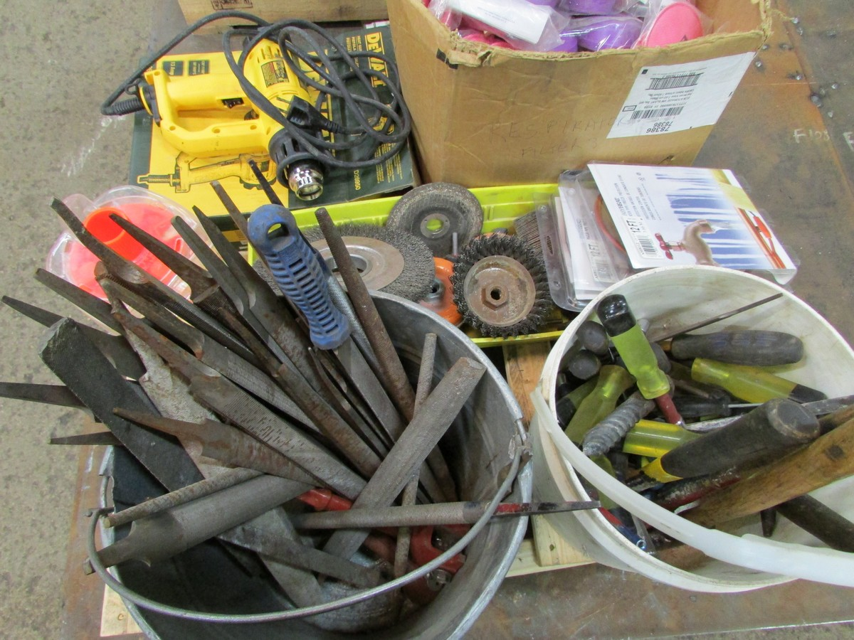 Small skid of files, angle grinder, brushes, respirator filters, Dewalt heat gun and misc. - Image 3 of 3