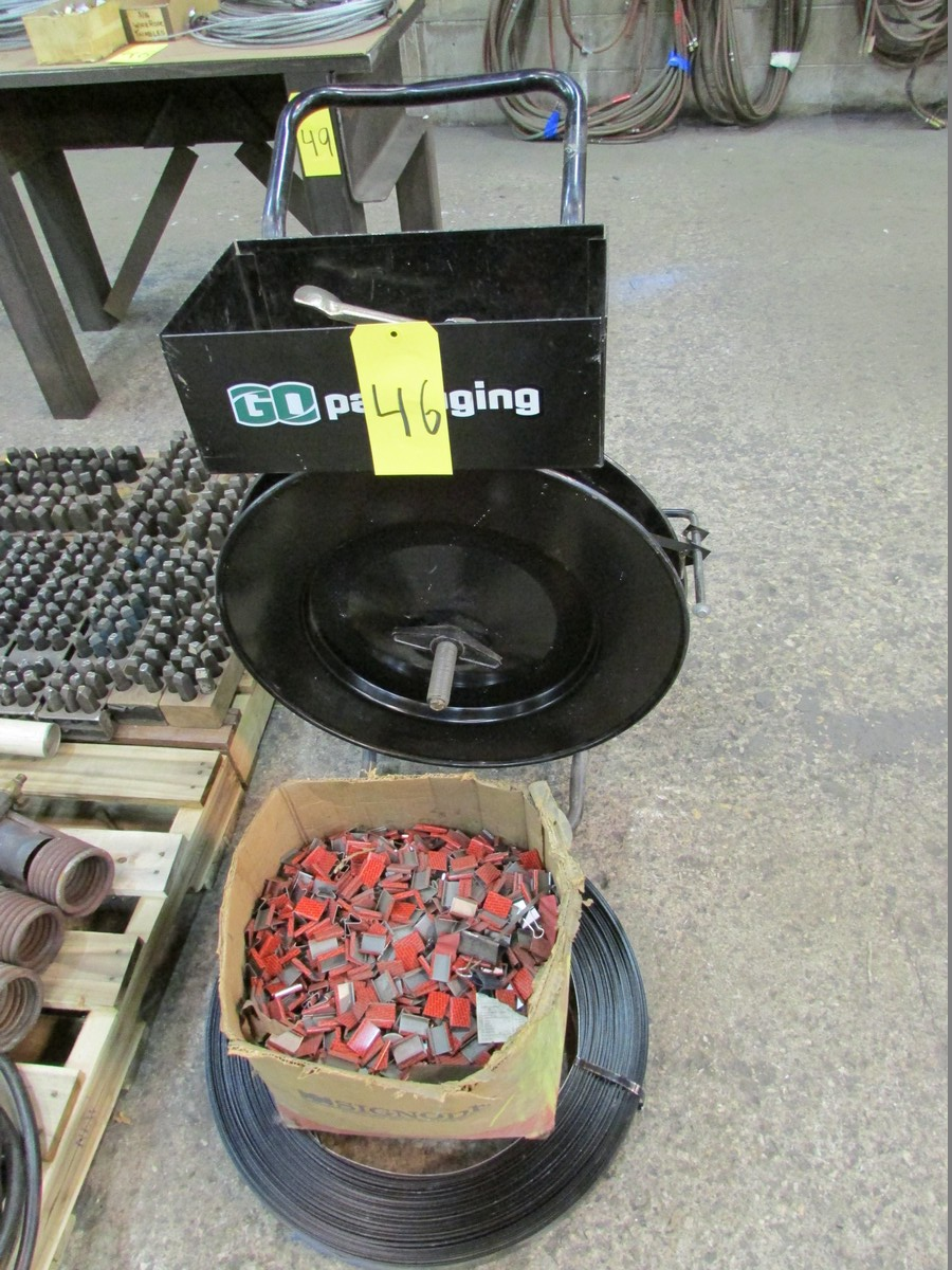 Metal banding cart w/ qty. of 3/4'' banding & clips