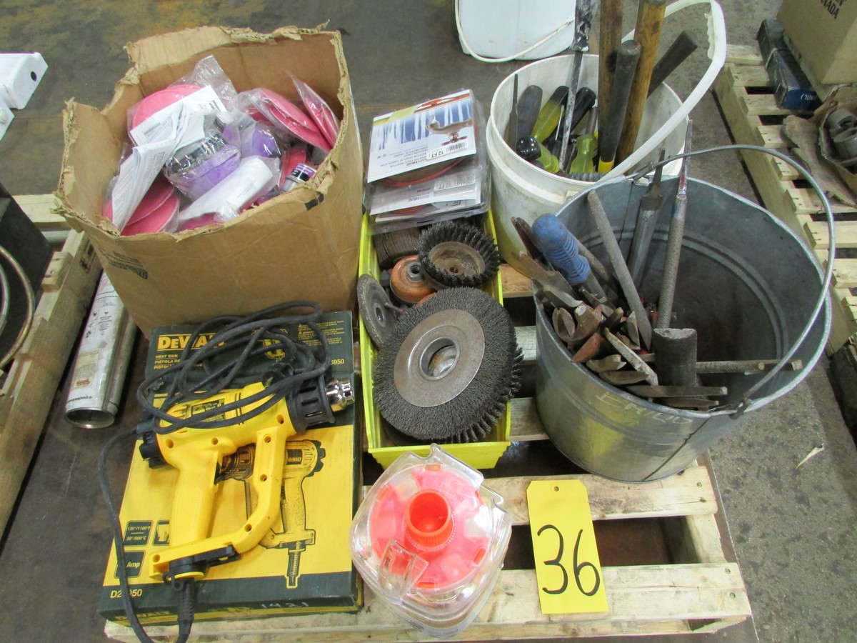 Small skid of files, angle grinder, brushes, respirator filters, Dewalt heat gun and misc.