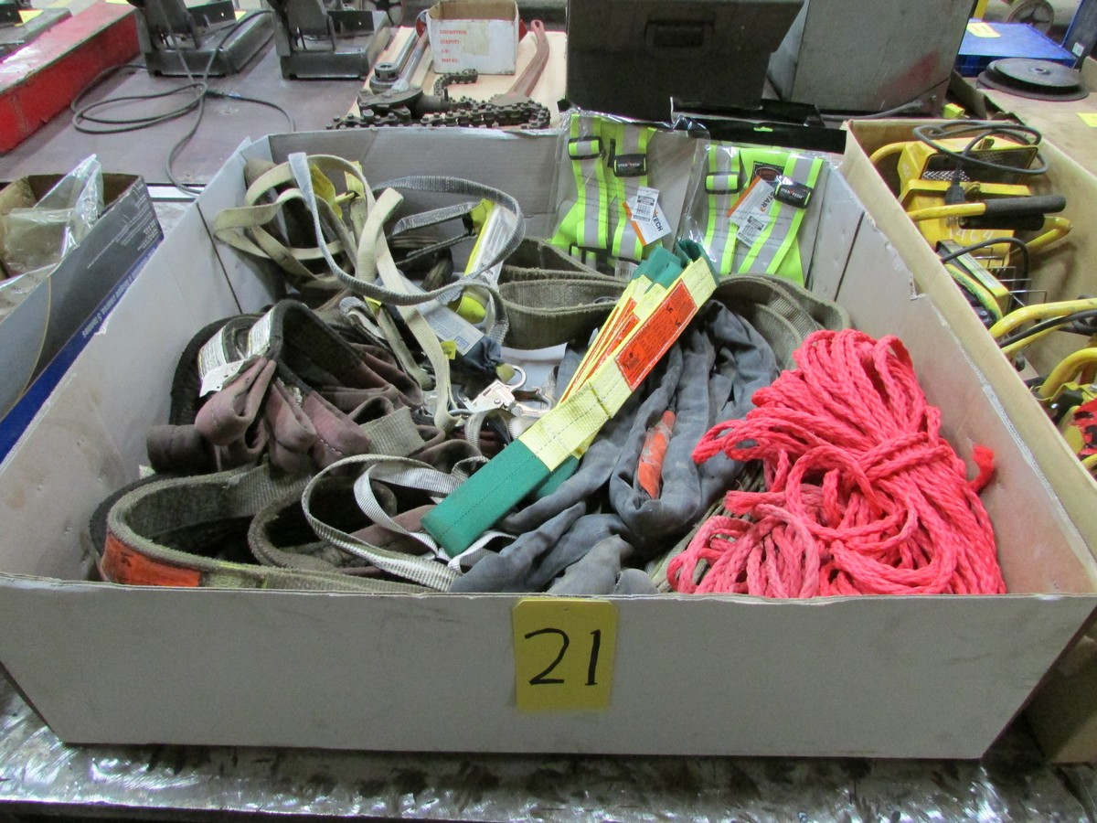 Lot 21 - Qty. of misc. chokers, lifting straps, rope, safety harnesses and used / unused isolation straps