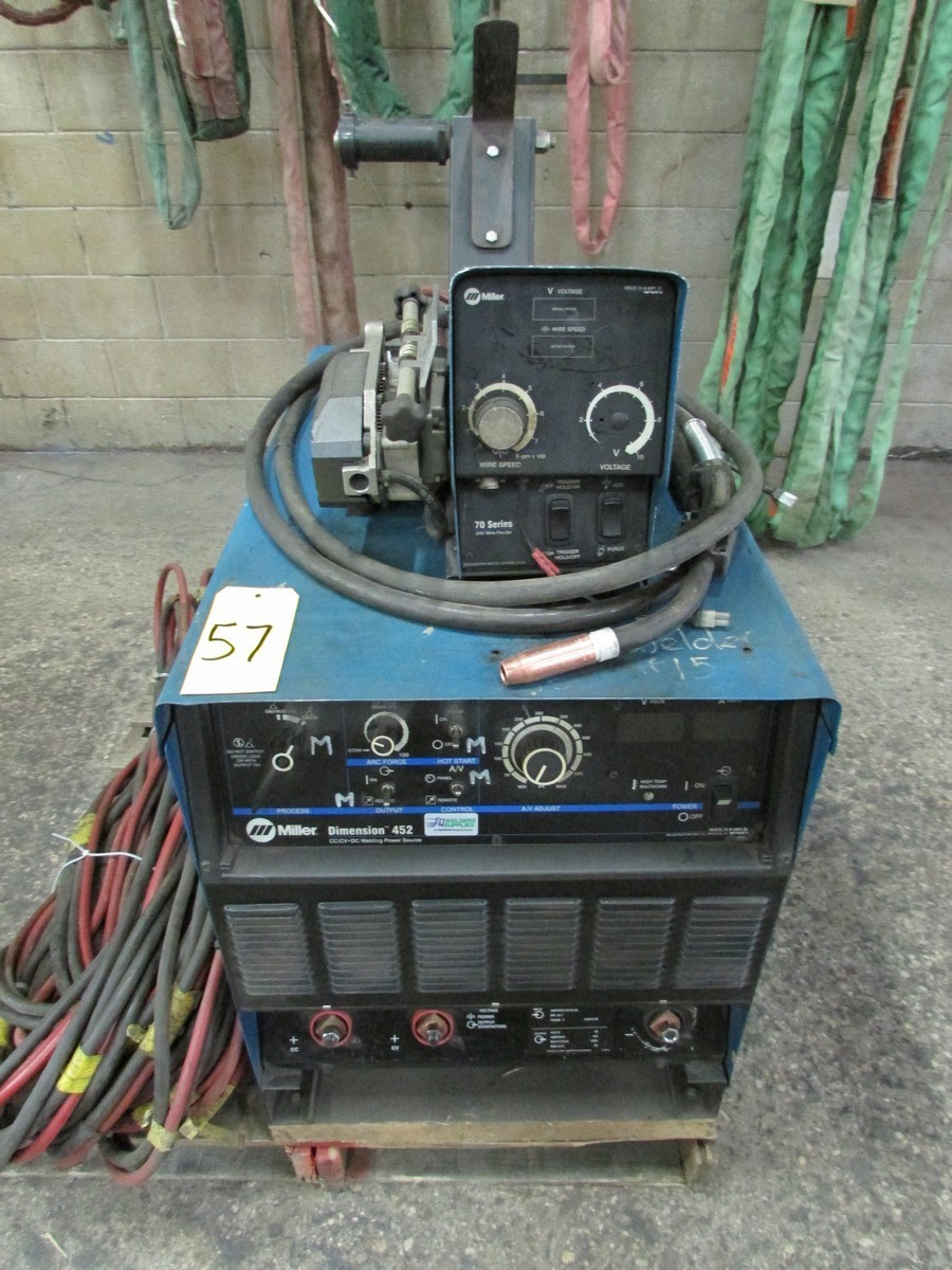 Miller Dimension 452 welder, s/n LF390857C c/w 70 Series 24V wire feed welding gun w/ generous