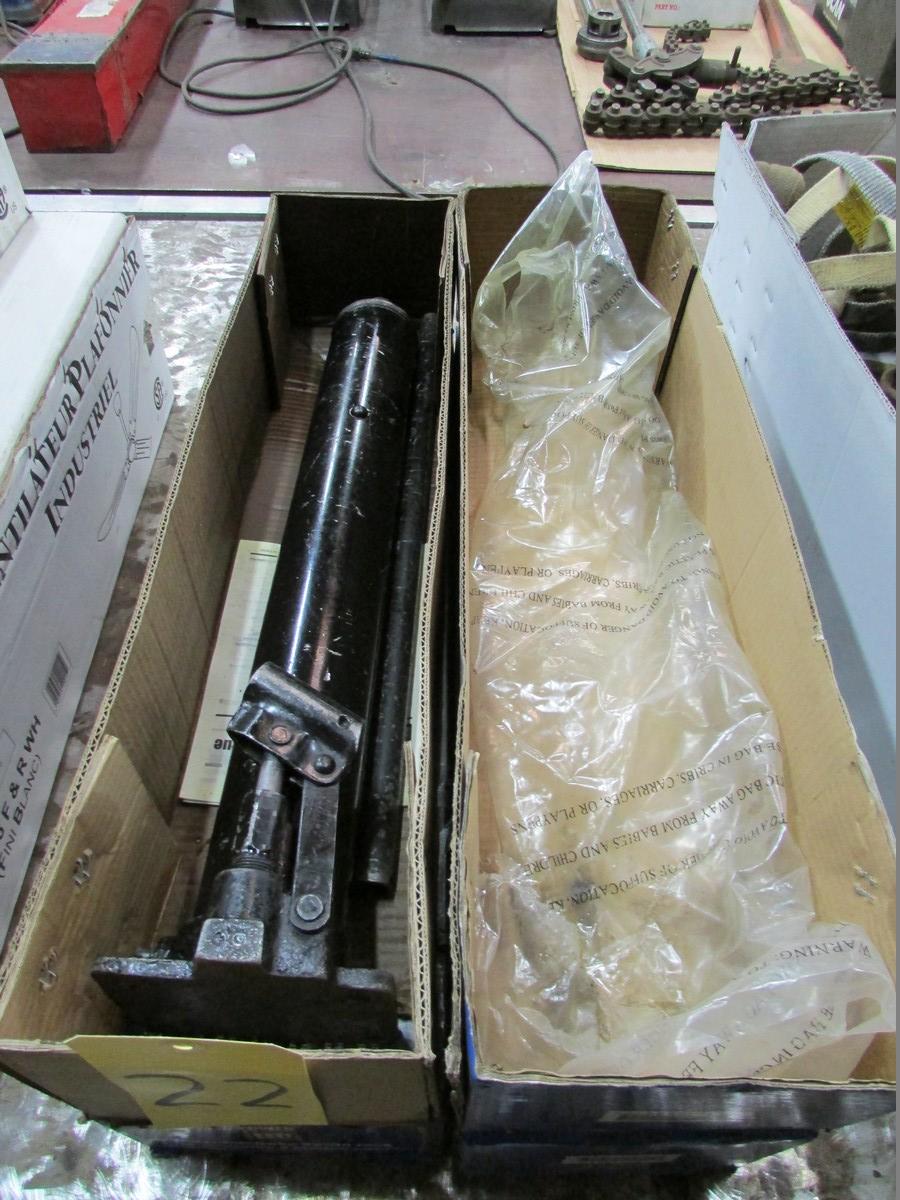 Three Powerfist long stroke 5 ton bottle jacks (2 are unused) - Image 2 of 2