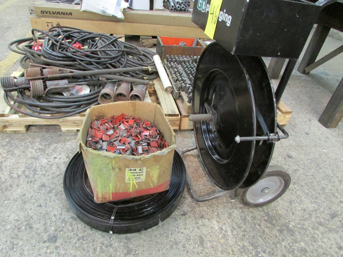 Lot 46 - Metal banding cart w/ qty. of 3/4'' banding & clips