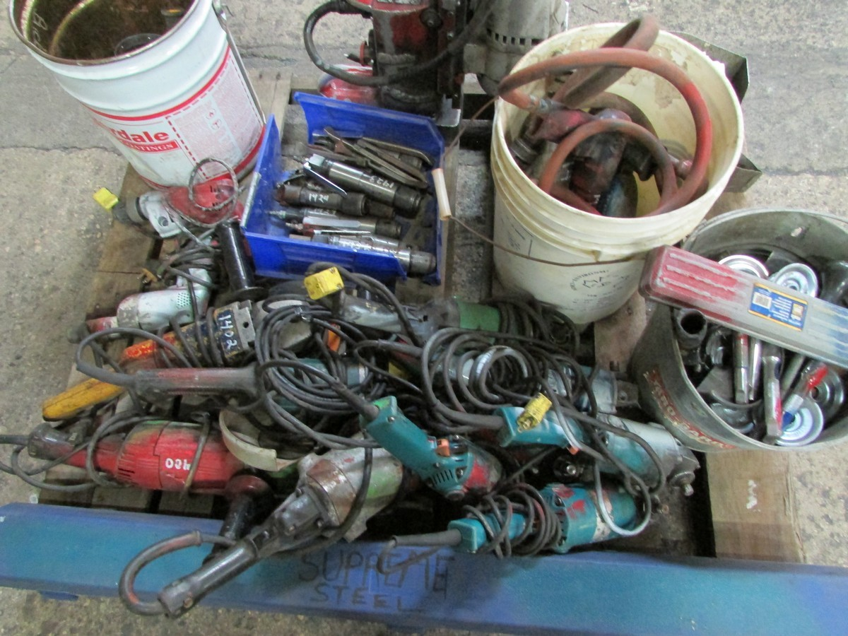 One skid of power tools needing repair including 1 large torque wrench, 1 mag drill, numerous - Image 2 of 5