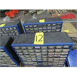 Two small plastic nut and bolt bins c/w contents