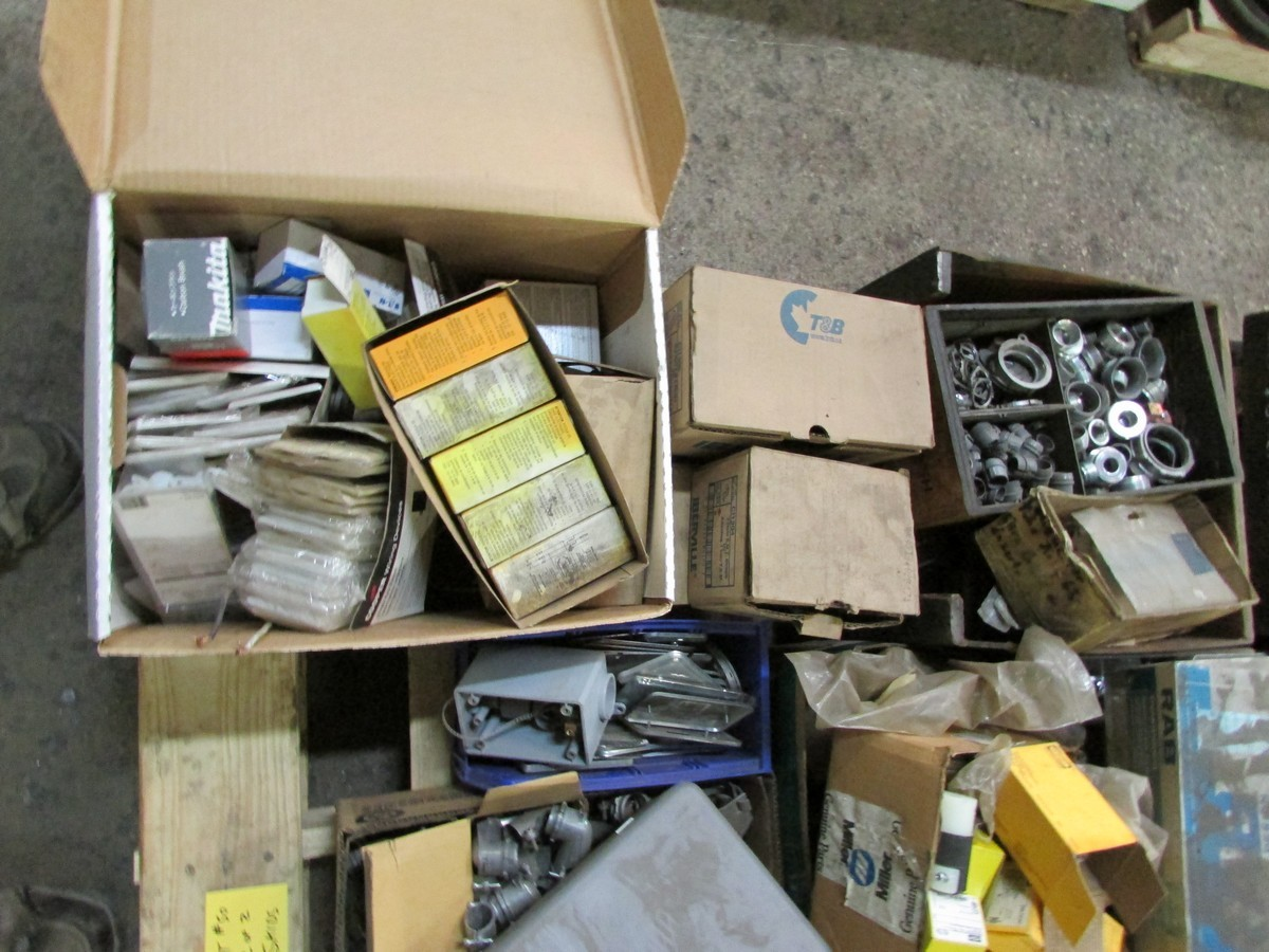 Two skids of various sized fuses, elec. components, fittings, connectors, etc. - Image 6 of 6