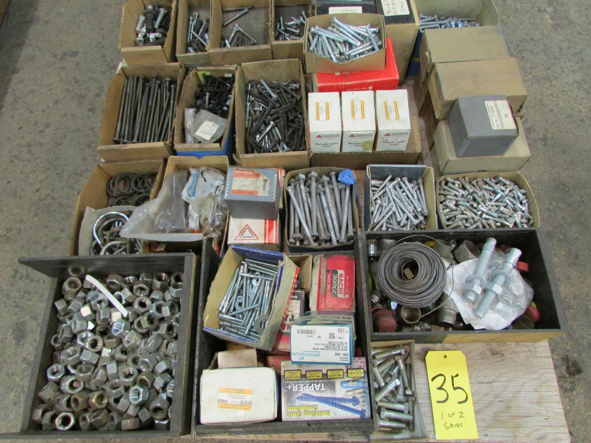 Lot 35 - 2 skids containing nuts, bolts, fasteners, pulleys, wheels and misc.