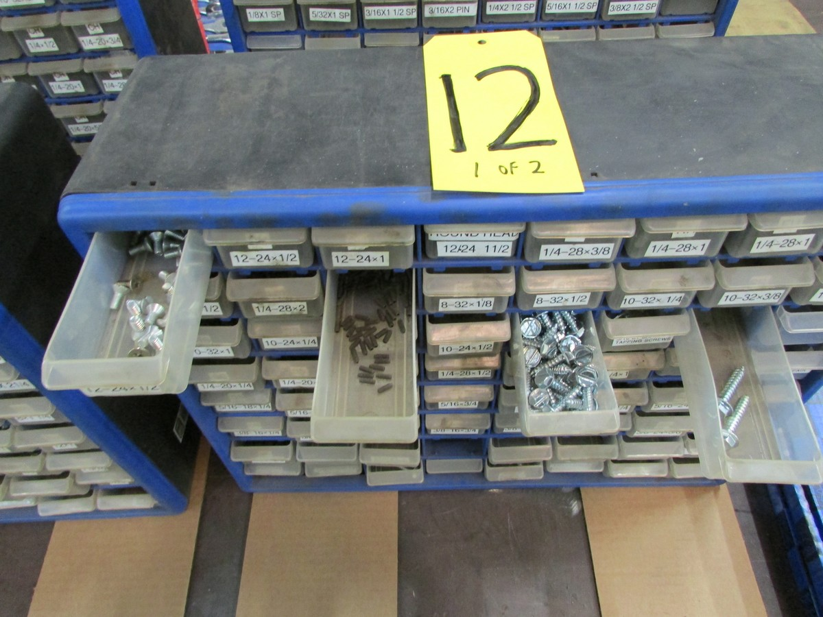 Two small plastic nut and bolt bins c/w contents - Image 2 of 3