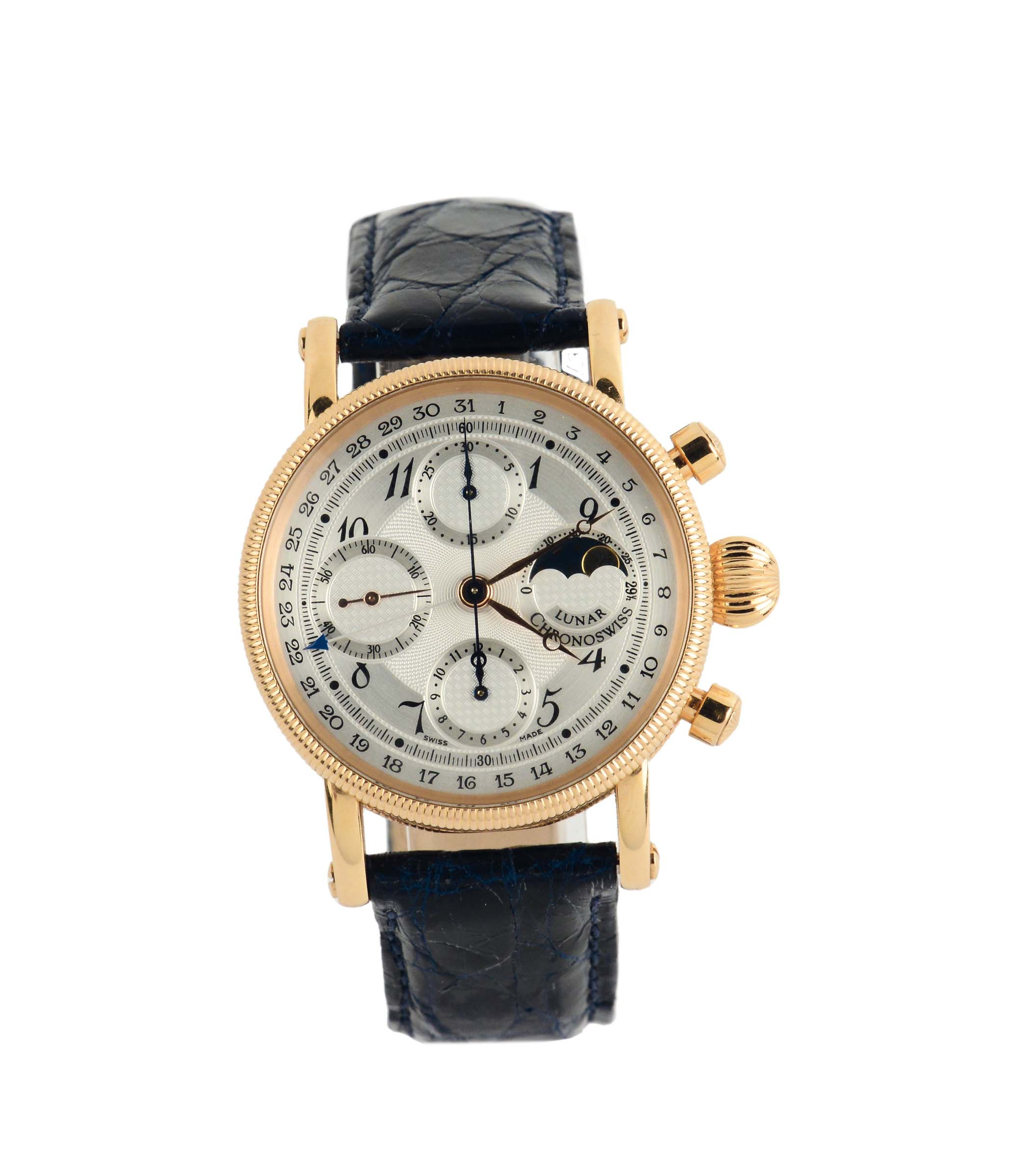 Lot 191 - Chronoswiss, Ref. CH7521R, Case No. 07196, 18K pink gold chronograph wristwatch with calendar and