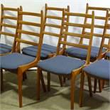 KAI KRISTIANSEN - a set of 6 Vintage Danish teak ladderback dining chairs, blue upholstered seat