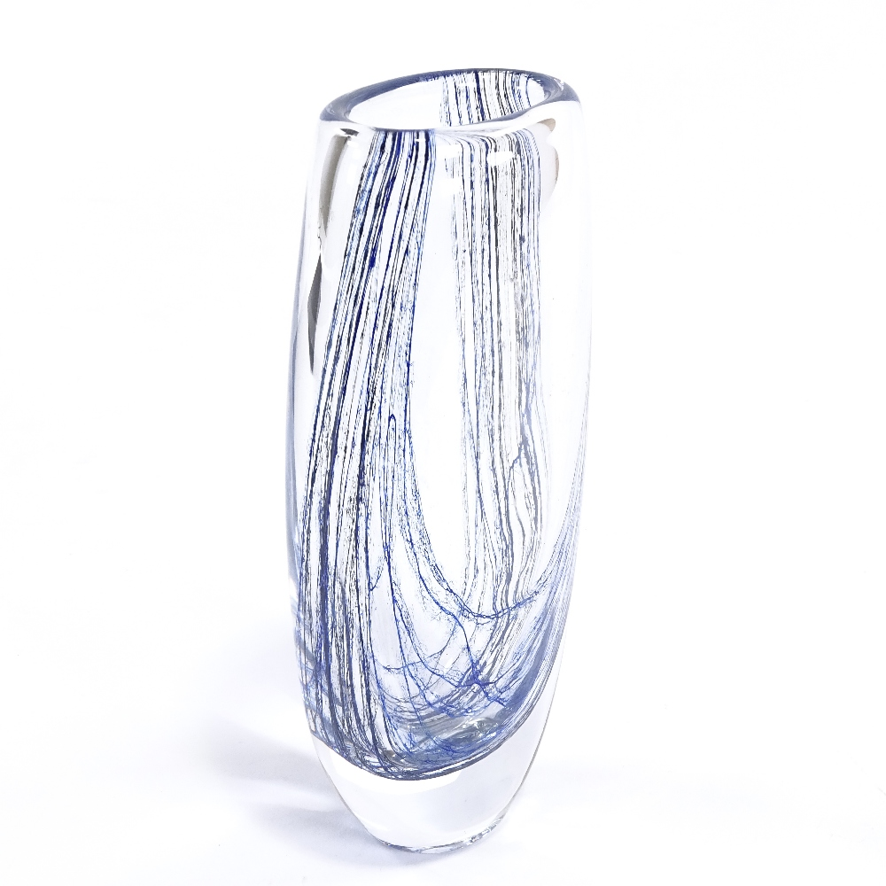 WITHDRAWN VICKE LINDSTRAND FOR KOSTA - a Mid-Century Swedish glass Blue Thread vase, circa 1955, - Image 2 of 5
