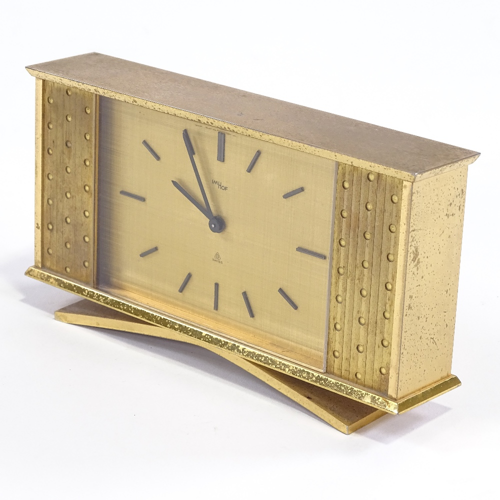 IMHOF - an Art Deco style Swiss brass-cased 8 day mantel clock, brushed dial with baton hour markers - Image 3 of 5