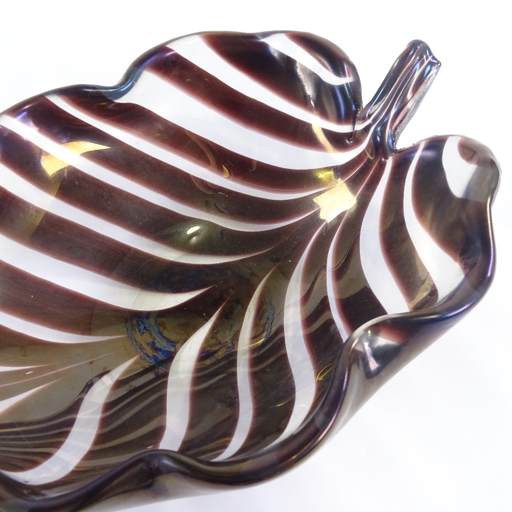TYRA LUNDGREN FOR VENINI - a 1930s thick Murano glass leaf bowl, amethyst coloured stripes with wave - Image 4 of 5