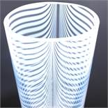 BERTIL VALLIEN FOR KOSTA BODA - a 1980s Swedish Zebra vase, tapered ovoid form with opaline stripes,