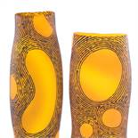 MARK THIELE - a large graduated pair of Mid-Century amber glass vases, sandblasted decoration with
