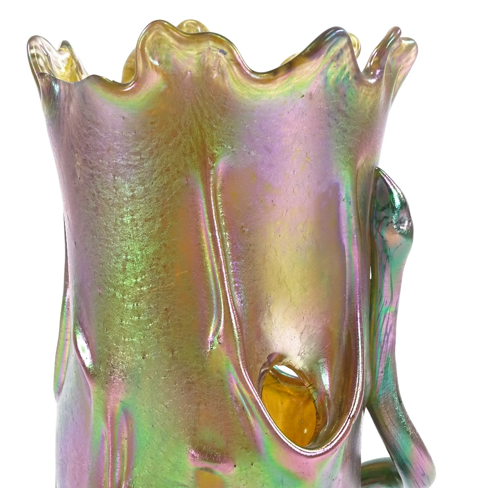 LOETZ - an early 20th Century iridescent glass Tree Trunk and Snake vase, realistically formed - Image 2 of 5