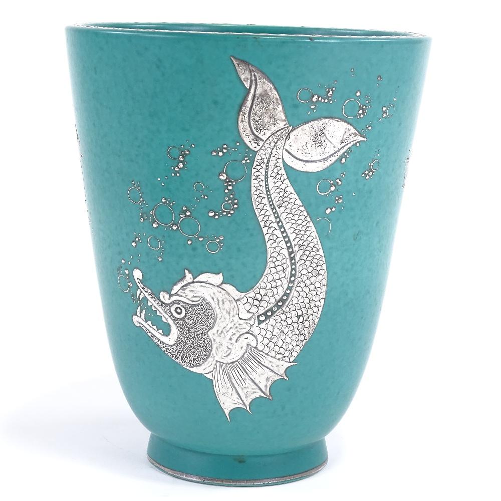 WILHELM KAGE FOR GUSTAVSBERG - a Mid-Century Swedish green glaze ceramic Argenta vase, circa 1946,