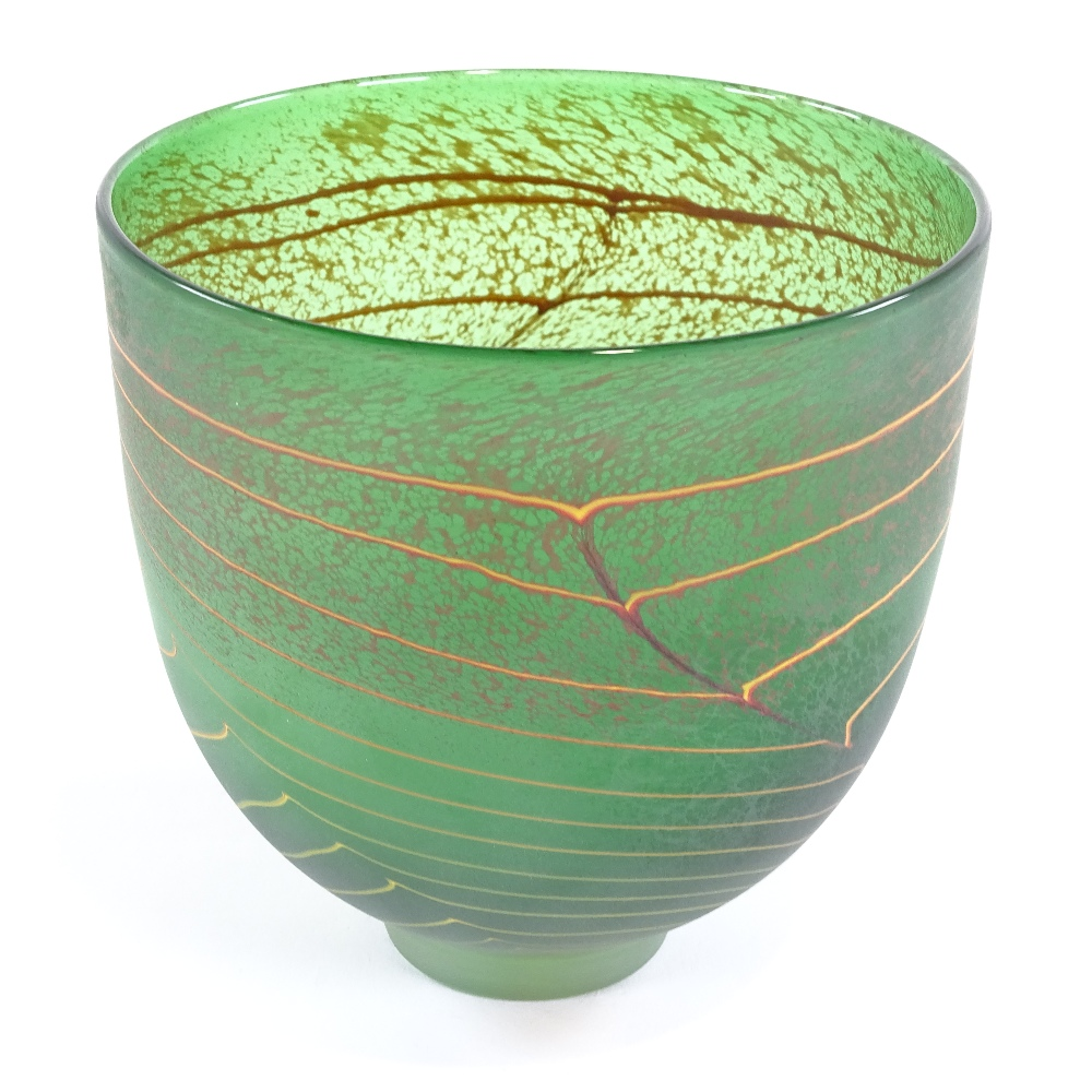 WILL SHAKSPEARE - a small Studio glass open lime Trail bowl, sandblasted finish, etched signature on - Image 2 of 5