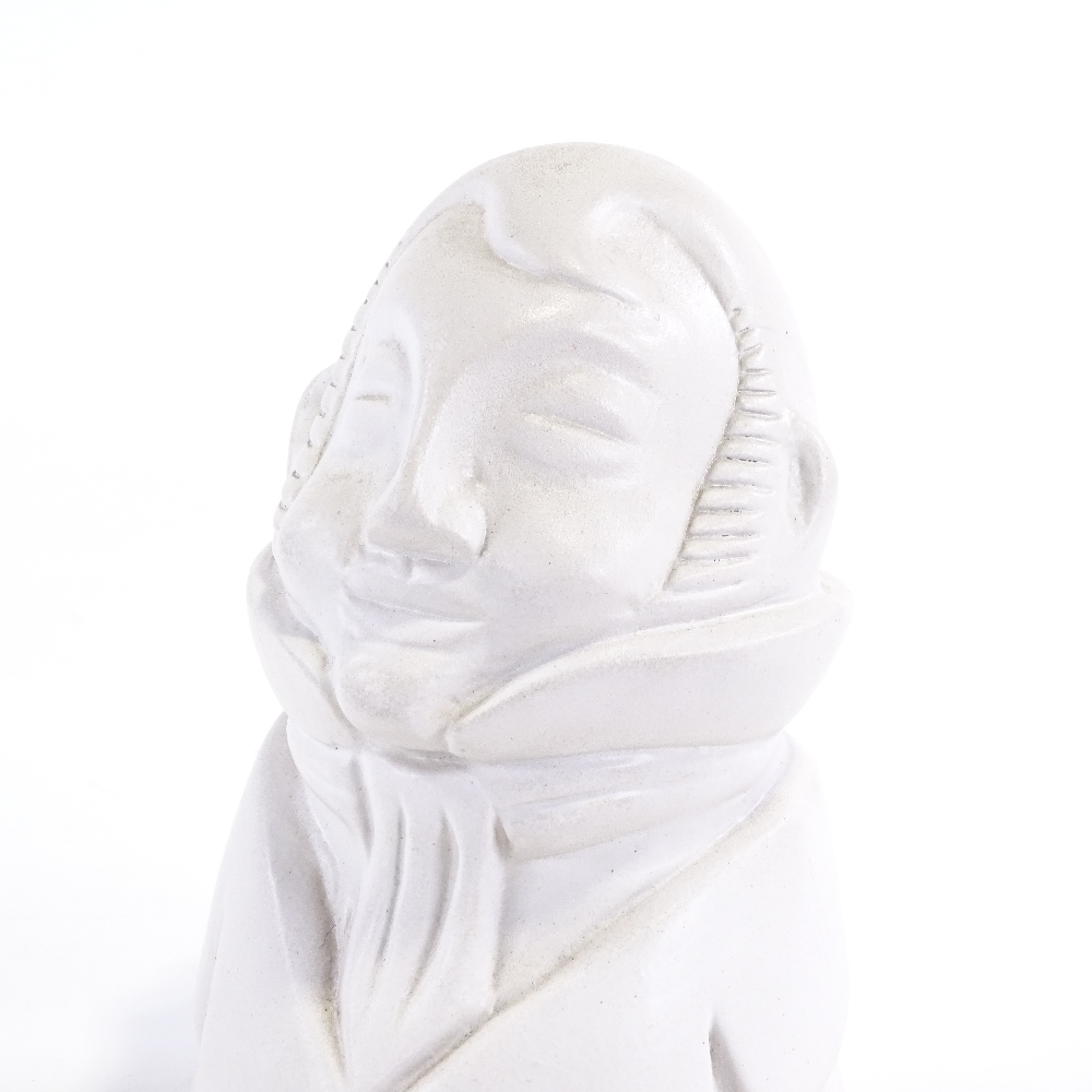 PIAZ X BUCCI - a Mid-Century Italian white ceramic pottery bust of a man, incised signature inside - Image 2 of 5