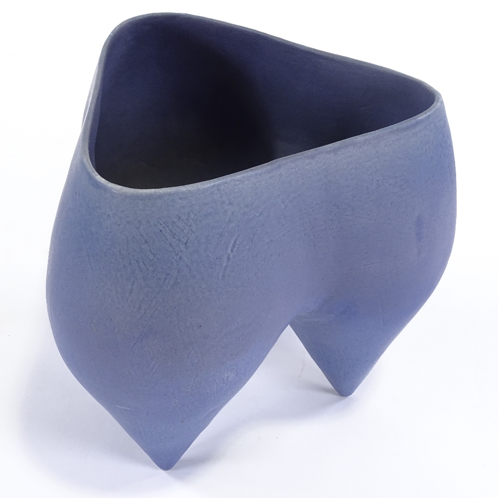 DEANA MOORE (British) - a Studio Pottery earthenware tripod pot, blue glaze, impressed maker's marks - Image 2 of 5