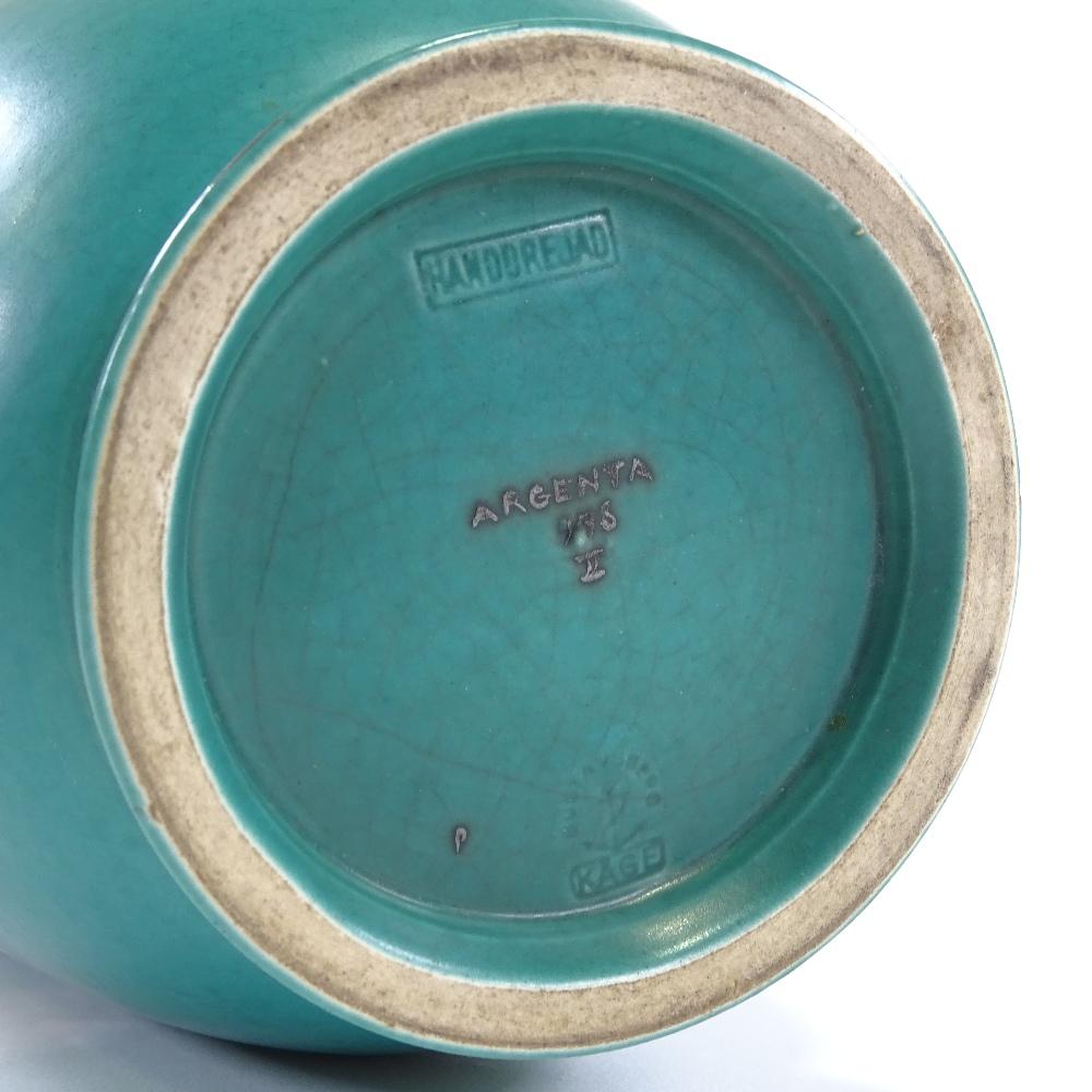 WILHELM KAGE FOR GUSTAVSBERG - a Mid-Century Swedish green glaze ceramic Argenta vase, circa 1946, - Image 5 of 5
