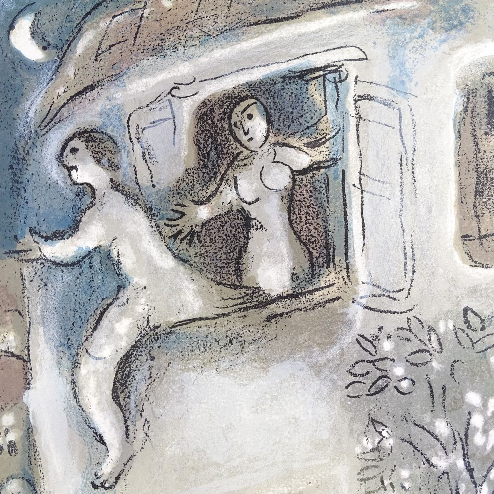 MARC CHAGALL - original colour lithograph, David Saved by Michal from The Bible, published by