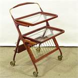 CESARE LACCA FOR CASSINA - a Mid-Century Italian lacquered wood serving trolley / bar cart, circa