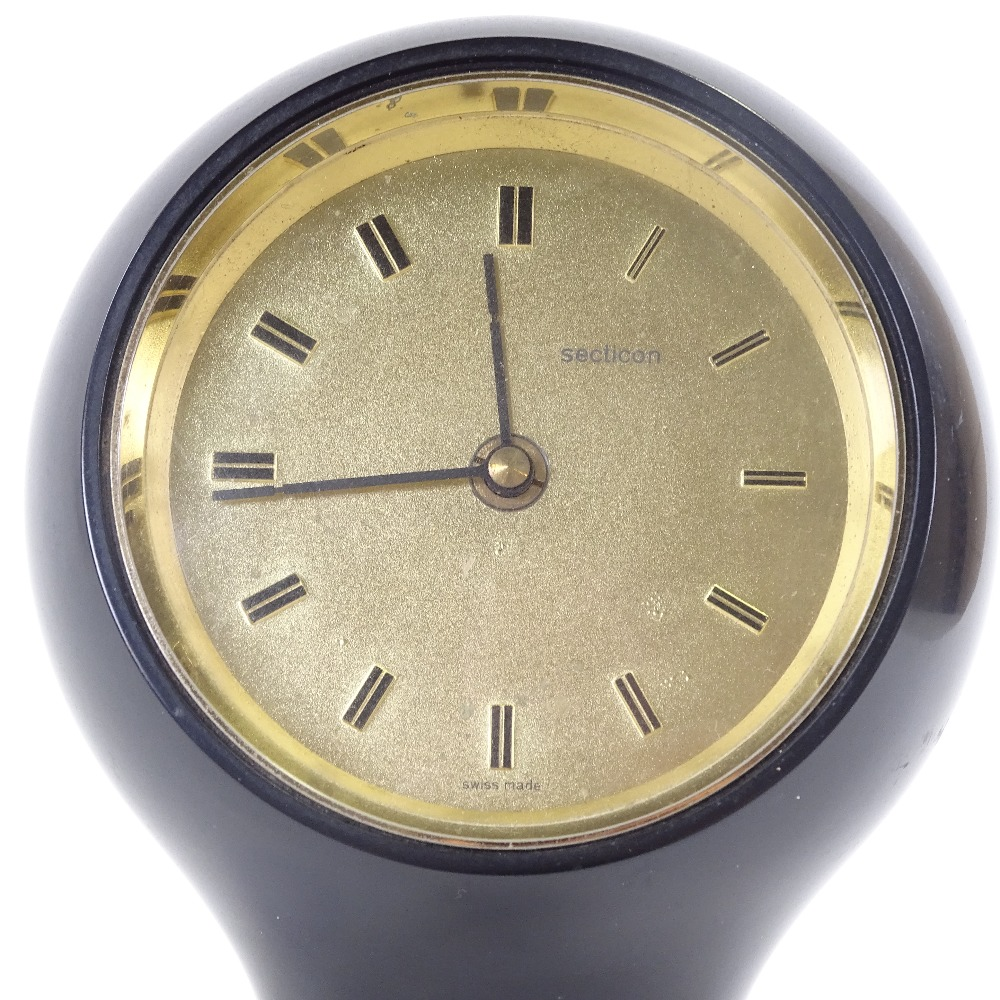 ANGELO MANGIAROTTI FOR SECTICON - a Mid-Century T1 desk clock, modern quartz movement, black plastic - Image 3 of 5