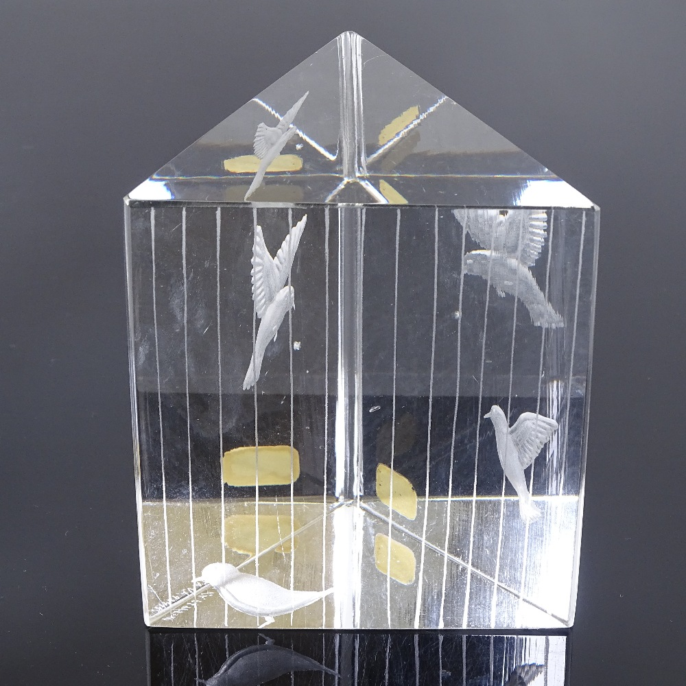 VICKE LINDSTRAND FOR KOSTA - a Mid-Century Swedish glass Birds prism sculpture, circa 1960s, - Image 2 of 5