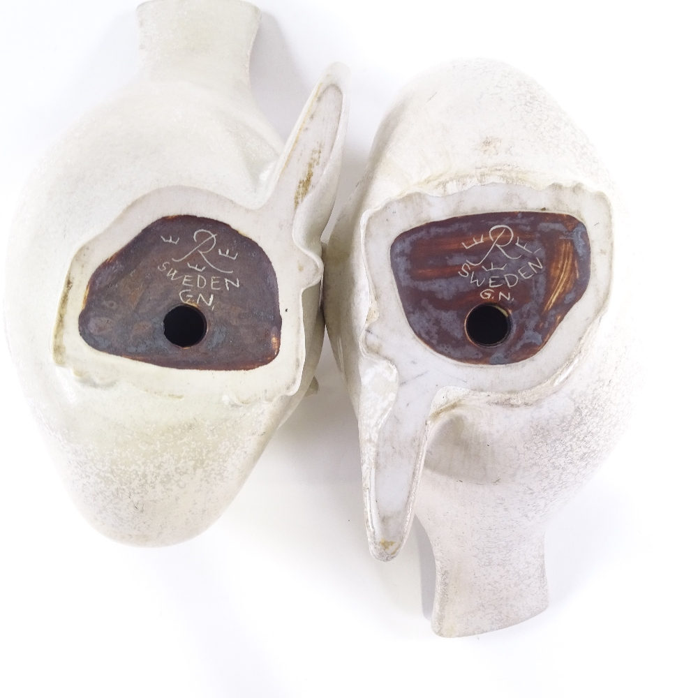 GUNNAR NYLUND FOR RORSTRAND - a pair of Swedish stoneware pottery doves of peace, circa 1930s, - Image 4 of 5
